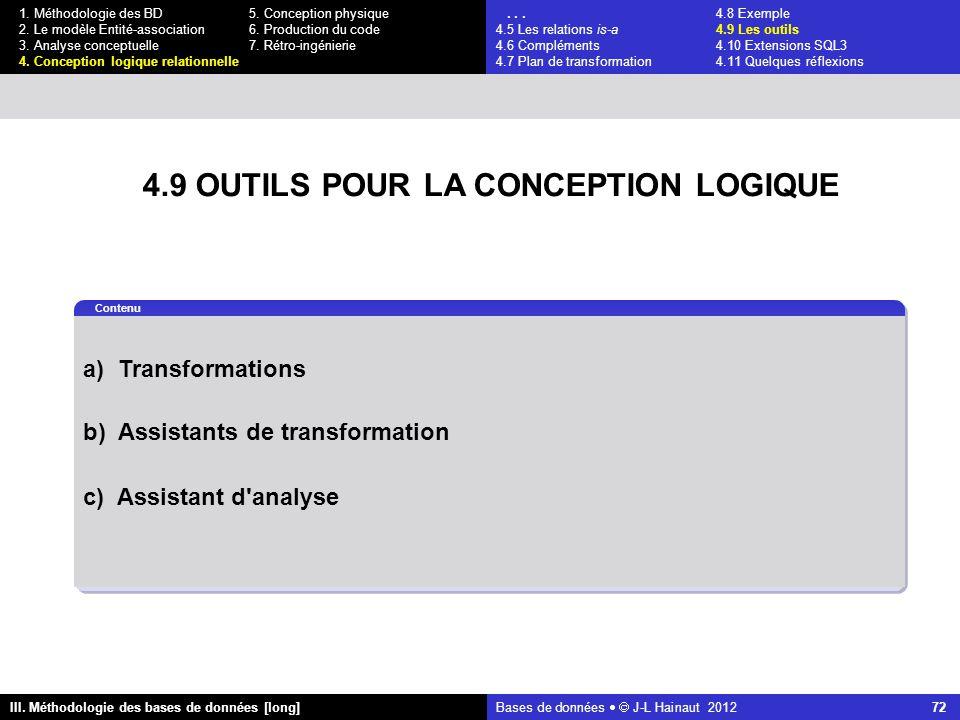 Bases de données   J-L Hainaut 2012 72 III. Méthodologie des bases de données [long] 1.