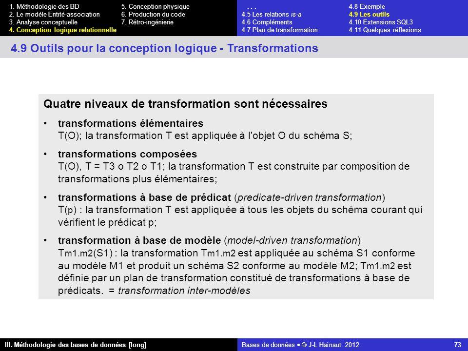 Bases de données   J-L Hainaut 2012 73 III. Méthodologie des bases de données [long] 1.