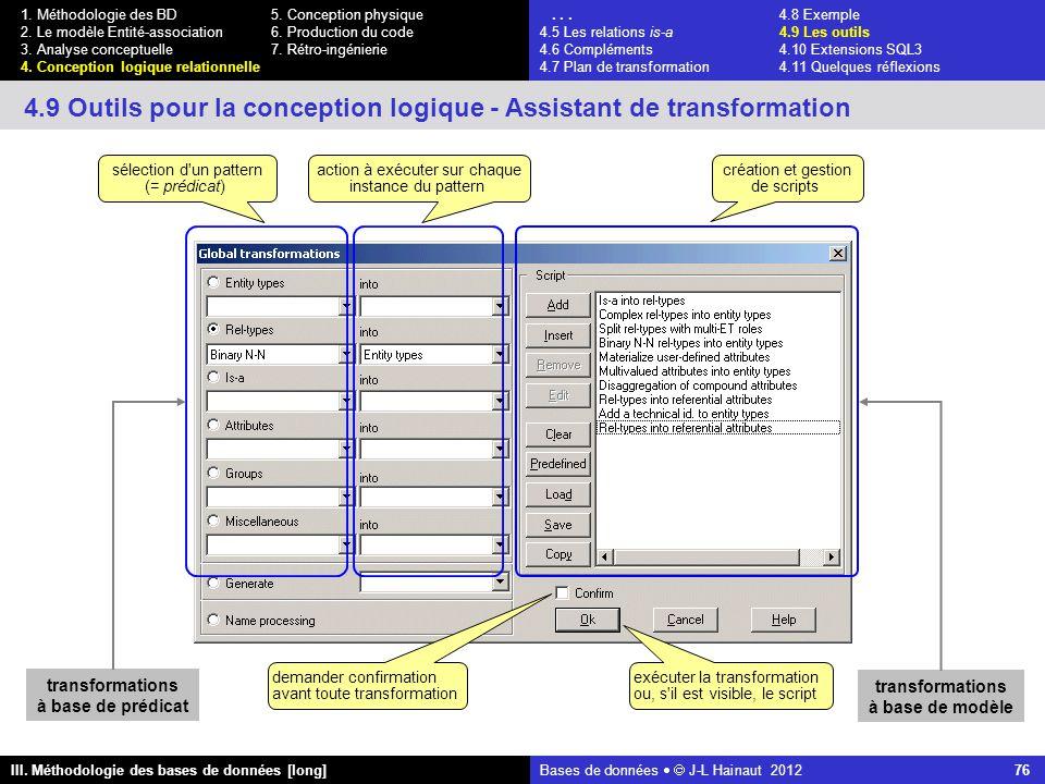 Bases de données   J-L Hainaut 2012 76 III. Méthodologie des bases de données [long] 1.