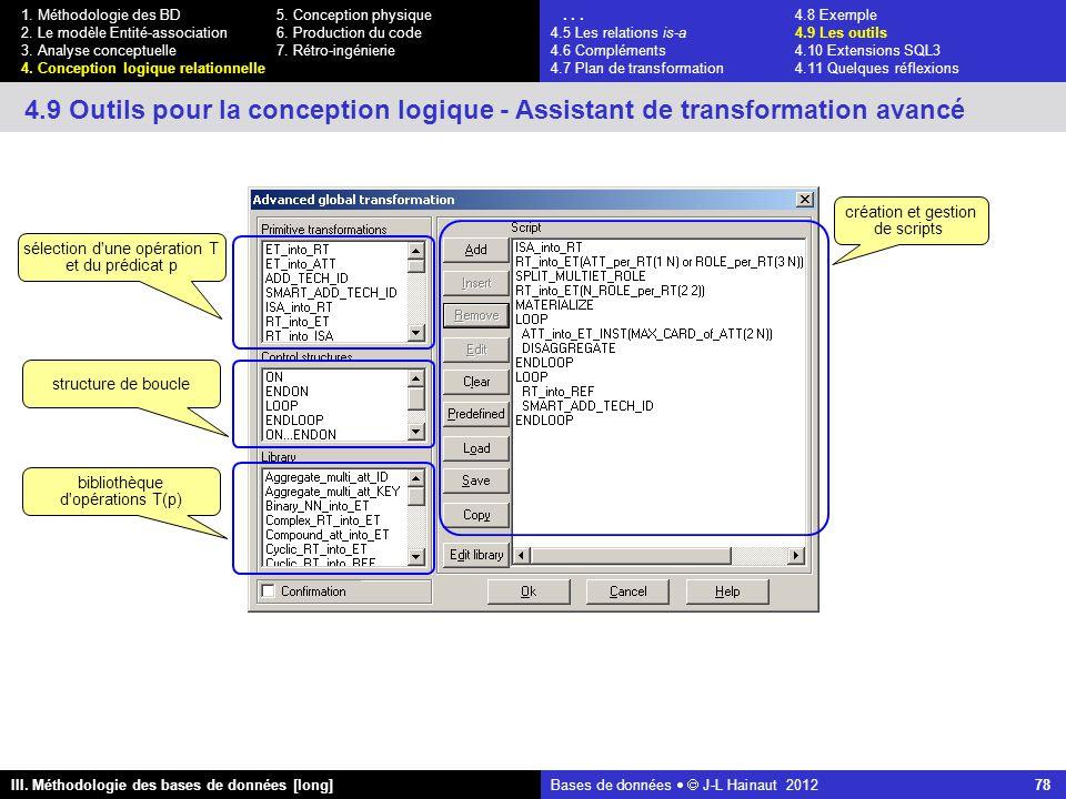 Bases de données   J-L Hainaut 2012 78 III. Méthodologie des bases de données [long] 1.