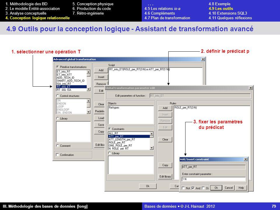 Bases de données   J-L Hainaut 2012 79 III. Méthodologie des bases de données [long] 1.