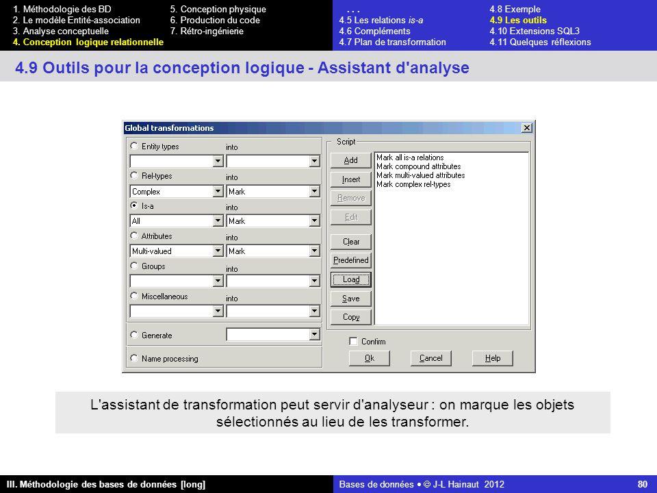 Bases de données   J-L Hainaut 2012 80 III. Méthodologie des bases de données [long] 1.