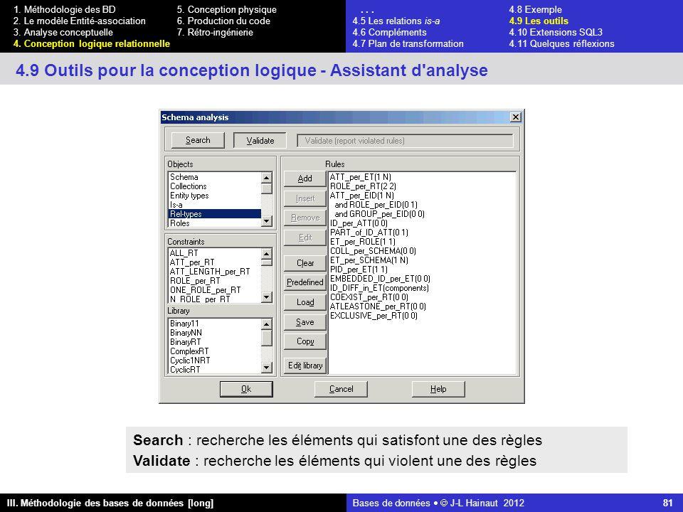 Bases de données   J-L Hainaut 2012 81 III. Méthodologie des bases de données [long] 1.