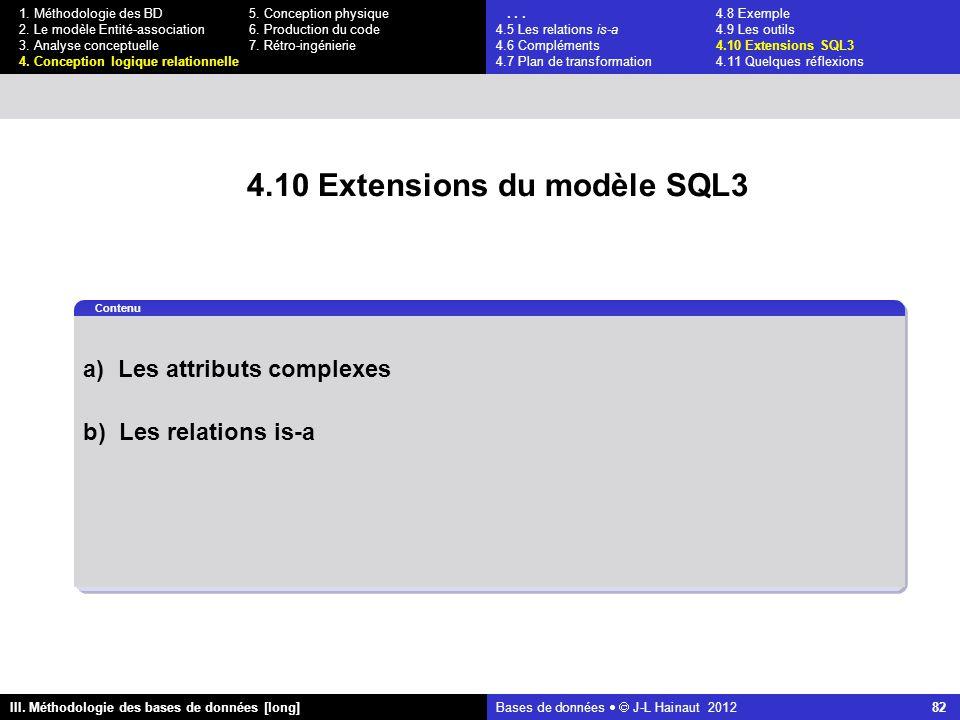 Bases de données   J-L Hainaut 2012 82 III. Méthodologie des bases de données [long] 1.