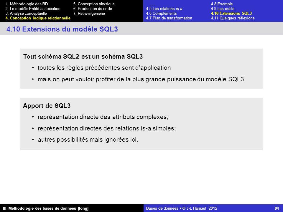 Bases de données   J-L Hainaut 2012 84 III. Méthodologie des bases de données [long] 1.