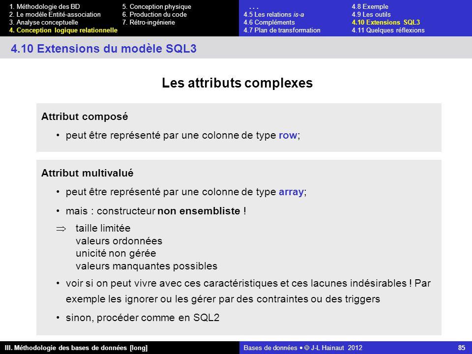 Bases de données   J-L Hainaut 2012 85 III. Méthodologie des bases de données [long] 1.
