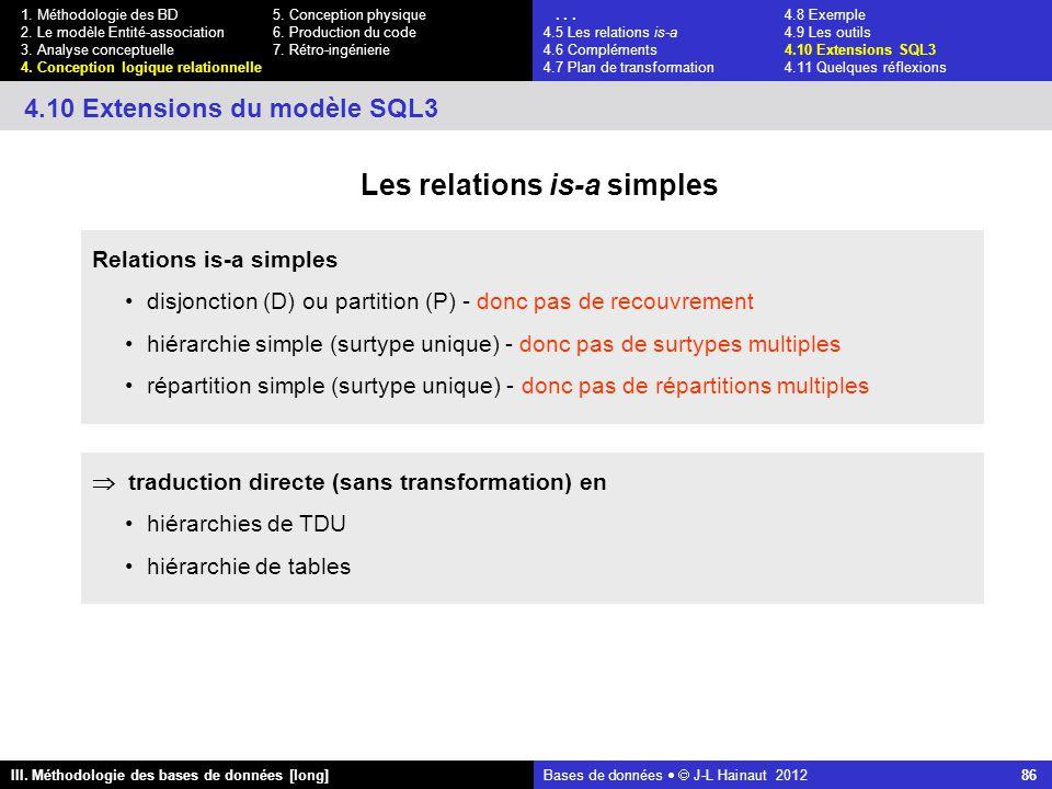 Bases de données   J-L Hainaut 2012 86 III. Méthodologie des bases de données [long] 1.