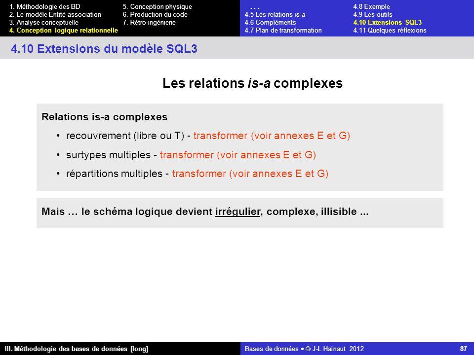 Bases de données   J-L Hainaut 2012 87 III. Méthodologie des bases de données [long] 1.