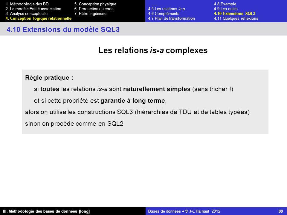 Bases de données   J-L Hainaut 2012 88 III. Méthodologie des bases de données [long] 1.