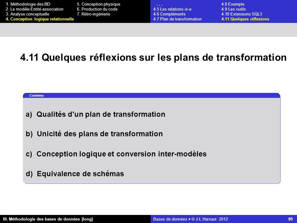 Bases de données   J-L Hainaut 2012 89 III. Méthodologie des bases de données [long] 1.