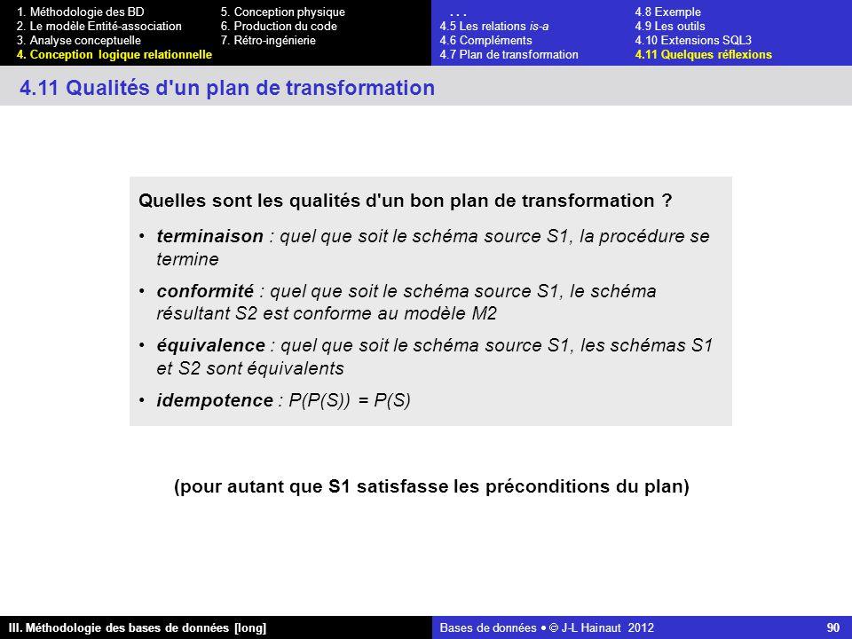 Bases de données   J-L Hainaut 2012 90 III. Méthodologie des bases de données [long] 1.