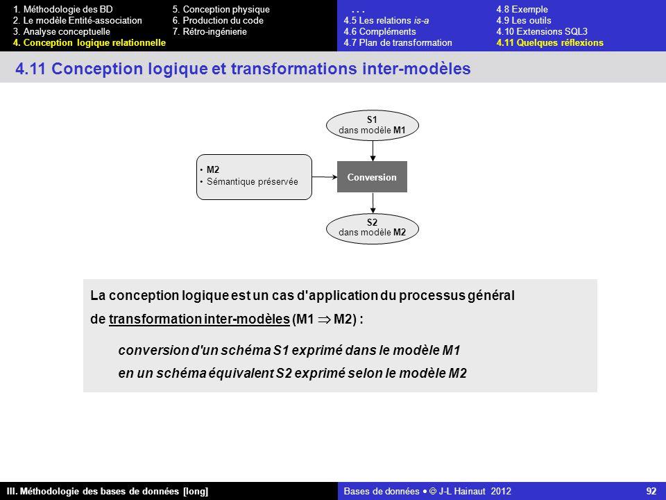 Bases de données   J-L Hainaut 2012 92 III. Méthodologie des bases de données [long] 1.