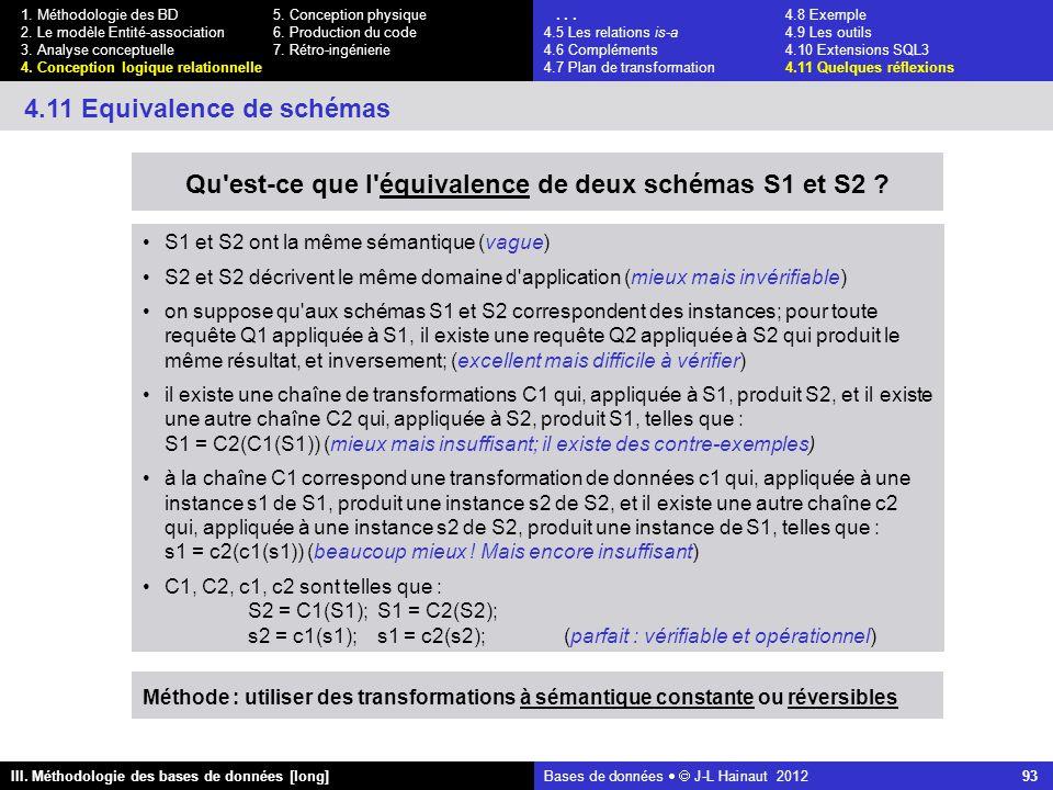 Bases de données   J-L Hainaut 2012 93 III. Méthodologie des bases de données [long] 1.