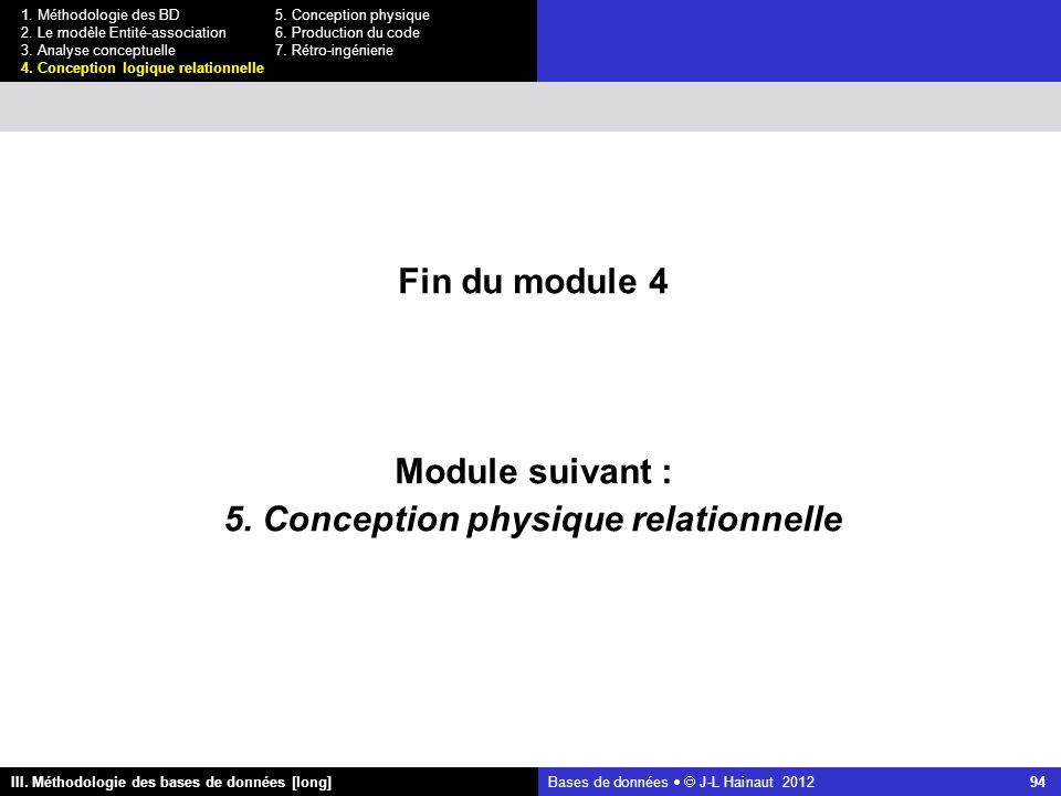 Bases de données   J-L Hainaut 2012 94 III. Méthodologie des bases de données [long] 1.
