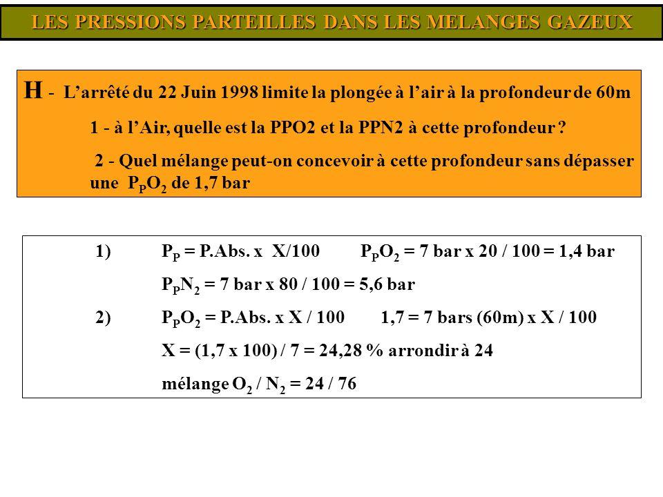 LES PRESSIONS PARTEILLES DANS LES MELANGES GAZEUX 1) P P = P.Abs. x X/100 P P O 2 = 7 bar x 20 / 100 = 1,4 bar P P N 2 = 7 bar x 80 / 100 = 5,6 bar 2)