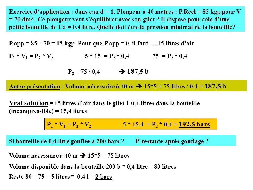 Exercice d'application : dans eau d = 1.Plongeur à 40 mètres : P.Réel = 85 kgp pour V = 70 dm 3.