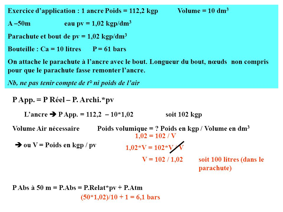 Exercice d'application : 1 ancre Poids = 112,2 kgpVolume = 10 dm 3 A –50m eau pv = 1,02 kgp/dm 3 Parachute et bout de pv = 1,02 kgp/dm 3 Bouteille : Ca = 10 litres P = 61 bars On attache le parachute à l'ancre avec le bout.