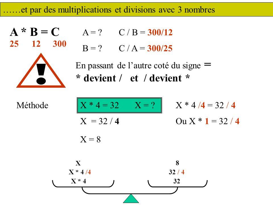 ……et par des multiplications et divisions avec 3 nombres A * B = C A = .