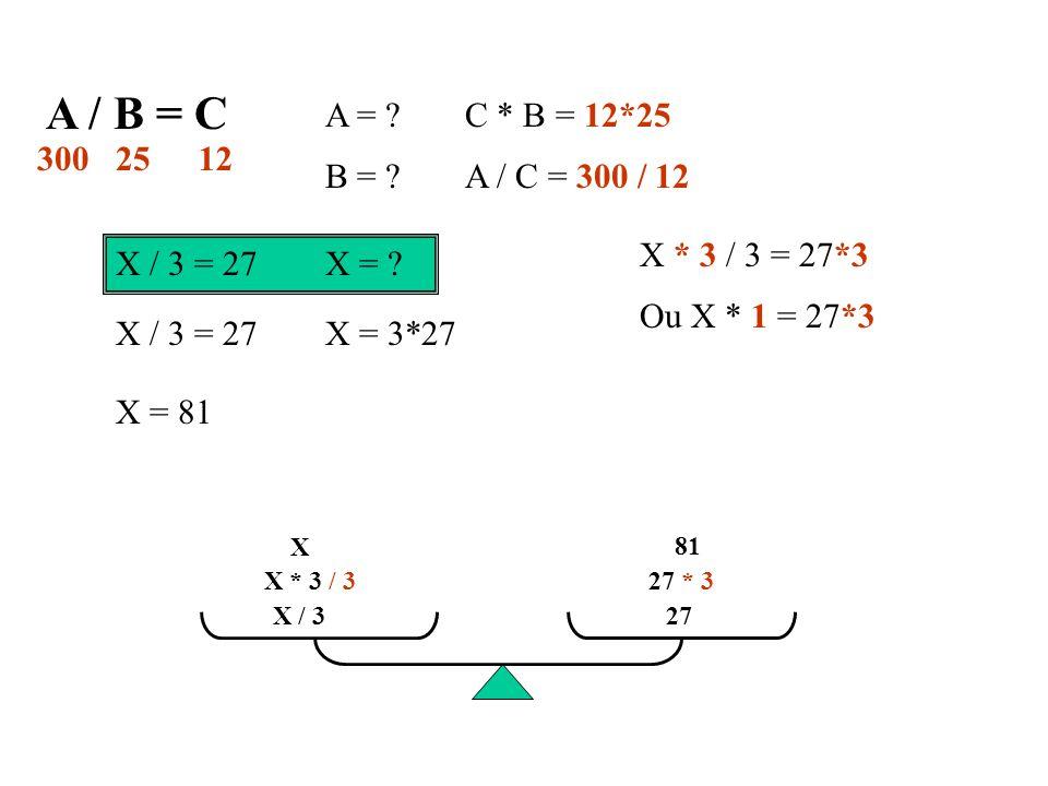 A / B = C A = .B = . C * B = 12*25 A / C = 300 / 12 3001225 X / 3 = 27X = .