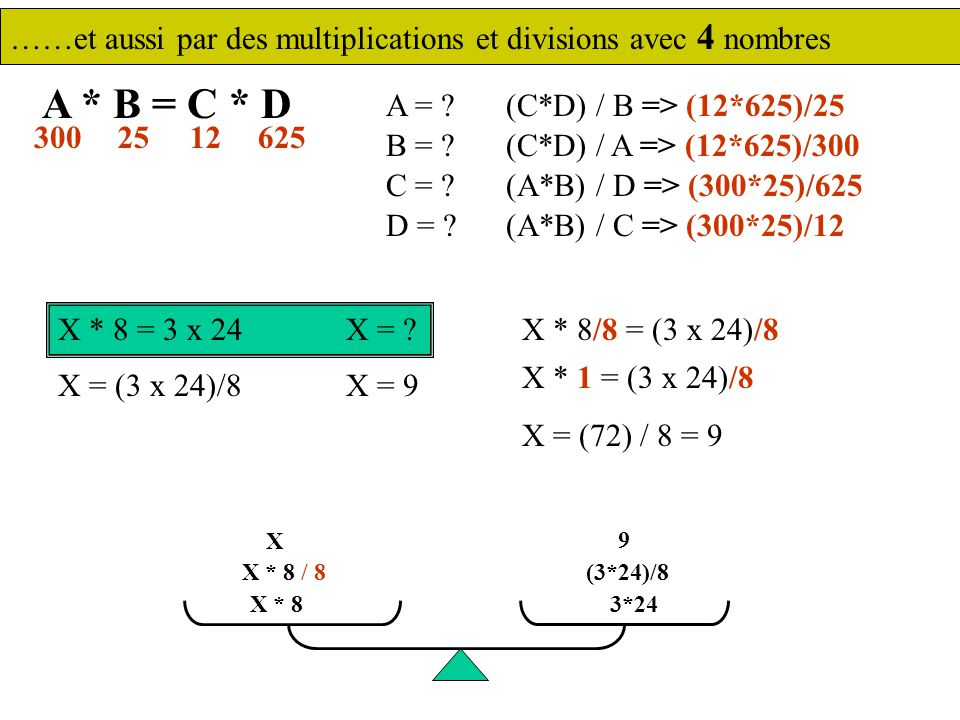 ……et aussi par des multiplications et divisions avec 4 nombres A * B = C * D A = .