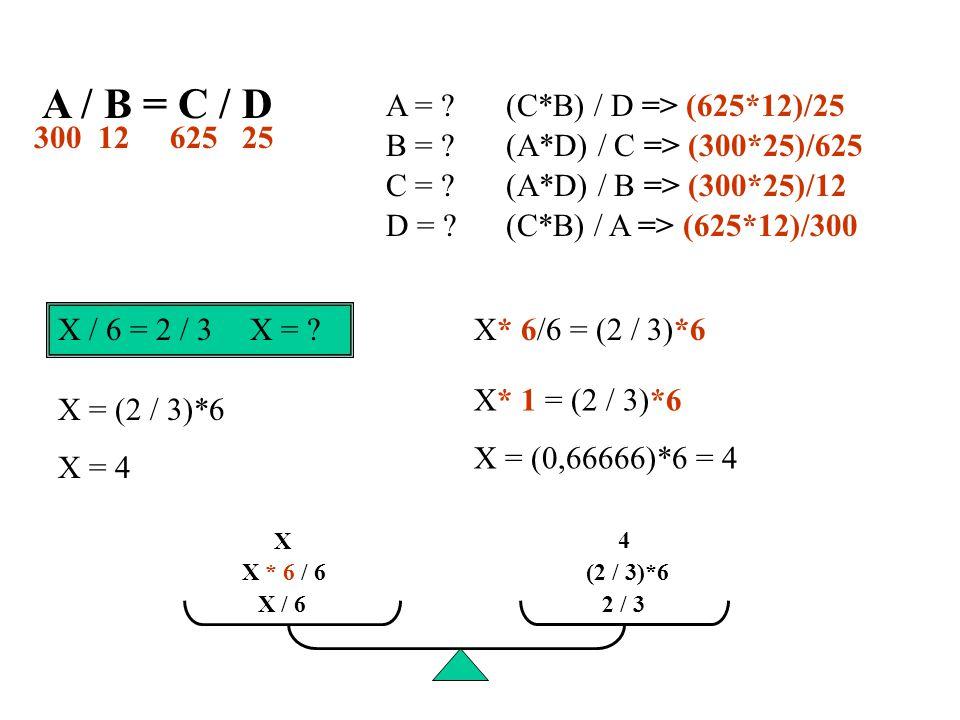 A / B = C / D A = .B = . C = . D = .
