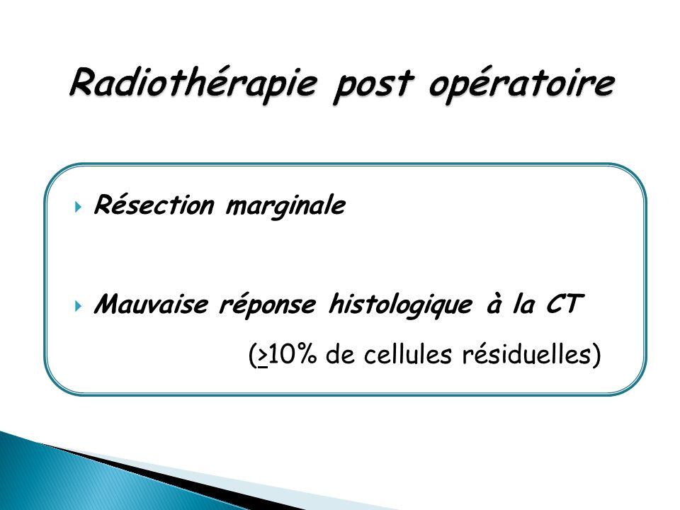  Résection marginale  Mauvaise réponse histologique à la CT (>10% de cellules résiduelles)
