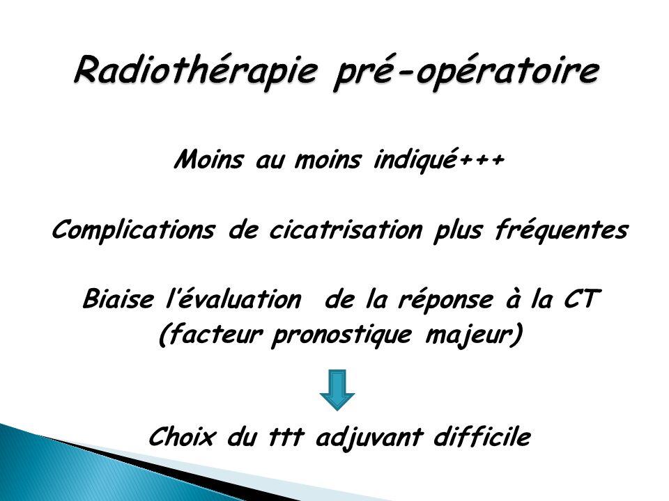 Moins au moins indiqué+++ Complications de cicatrisation plus fréquentes Biaise l'évaluation de la réponse à la CT (facteur pronostique majeur) Choix