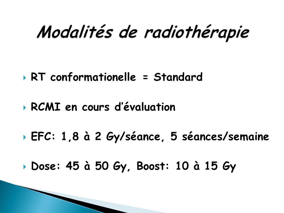  RT conformationelle = Standard  RCMI en cours d'évaluation  EFC: 1,8 à 2 Gy/séance, 5 séances/semaine  Dose: 45 à 50 Gy, Boost: 10 à 15 Gy