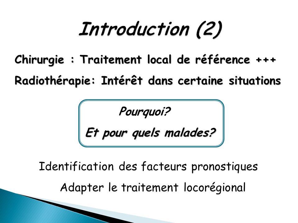 Chirurgie : Traitement local de référence +++ Radiothérapie: Intérêt dans certaine situations Pourquoi? Et pour quels malades? Et pour quels malades?