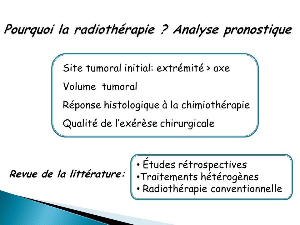 Site tumoral initial: extrémité > axe Volume tumoral Réponse histologique à la chimiothérapie Qualité de l'exérèse chirurgicale Revue de la littératur