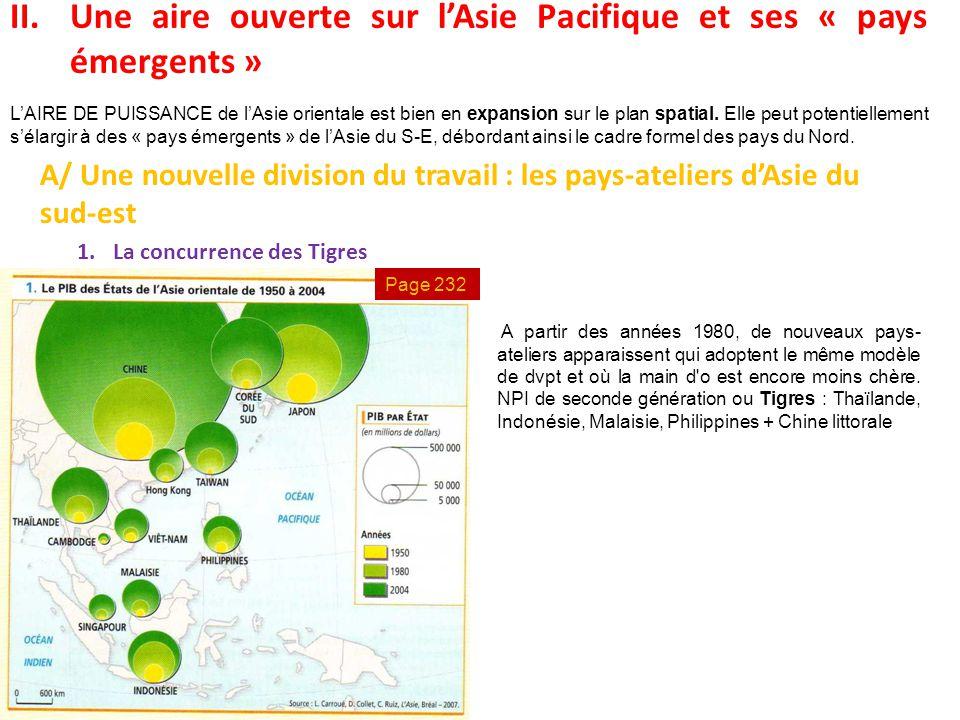 II.Une aire ouverte sur l'Asie Pacifique et ses « pays émergents » A/ Une nouvelle division du travail : les pays-ateliers d'Asie du sud-est 1.La conc