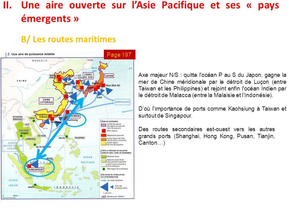 II.Une aire ouverte sur l'Asie Pacifique et ses « pays émergents » B/ Les routes maritimes Axe majeur N/S : quitte l'océan P au S du Japon, gagne la m