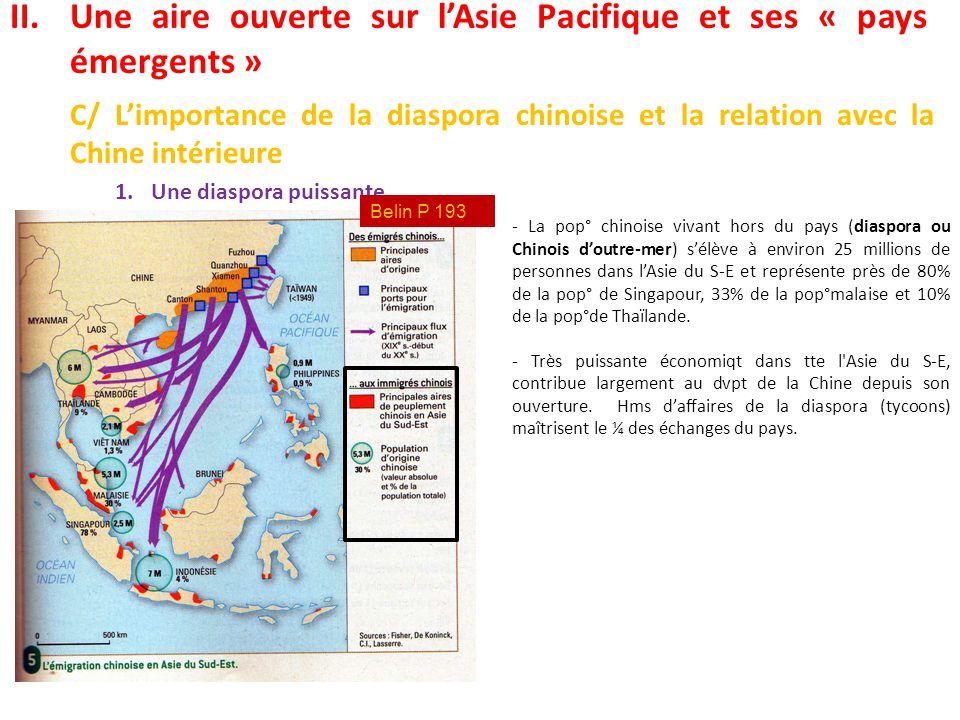 II.Une aire ouverte sur l'Asie Pacifique et ses « pays émergents » C/ L'importance de la diaspora chinoise et la relation avec la Chine intérieure 1.U