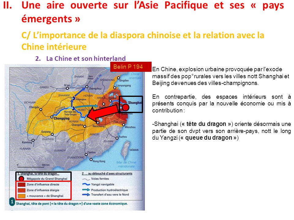 II.Une aire ouverte sur l'Asie Pacifique et ses « pays émergents » C/ L'importance de la diaspora chinoise et la relation avec la Chine intérieure 2.L