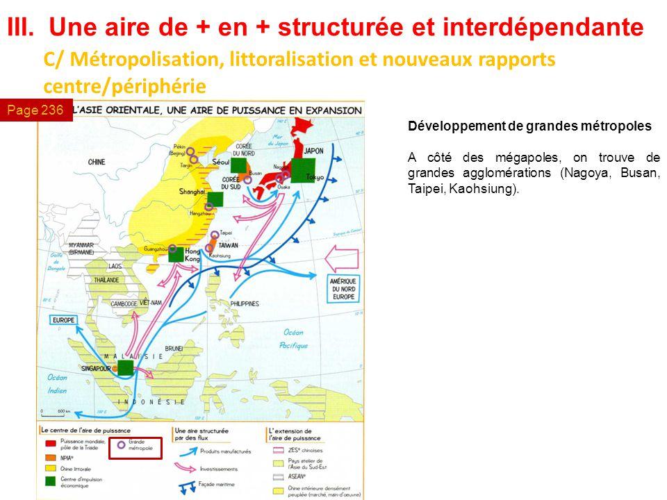 III.Une aire de + en + structurée et interdépendante C/ Métropolisation, littoralisation et nouveaux rapports centre/périphérie Développement de grand