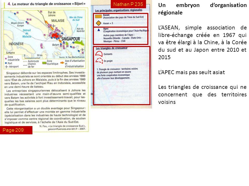 Nathan P 235 Un embryon d'organisation régionale L'ASEAN, simple association de libre-échange créée en 1967 qui va être élargi à la Chine, à la Corée