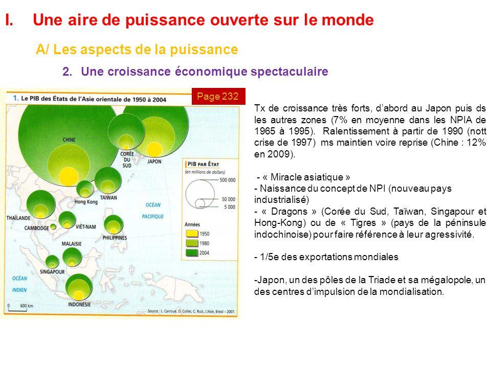 I.Une aire de puissance ouverte sur le monde A/ Les aspects de la puissance 2.Une croissance économique spectaculaire Tx de croissance très forts, d'a
