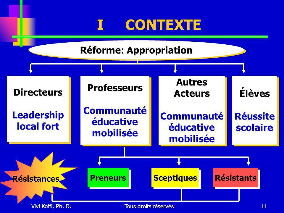 Vivi Koffi, Ph. D.Tous droits réservés11 Réforme: Appropriation Directeurs Leadership local fort Directeurs Leadership local fort Professeurs Communau