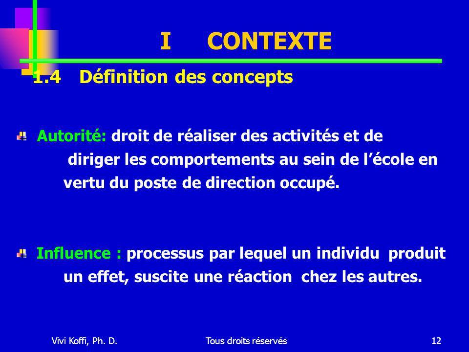 Vivi Koffi, Ph. D.Tous droits réservés12 ICONTEXTE Autorité: droit de réaliser des activités et de diriger les comportements au sein de l'école en ver