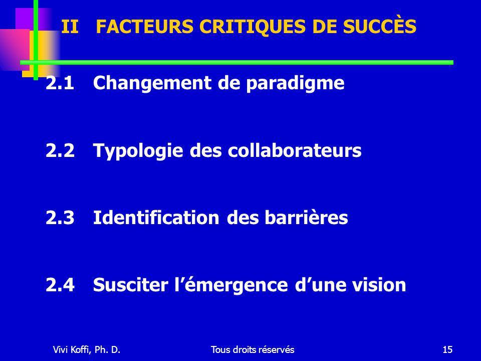 Vivi Koffi, Ph. D.Tous droits réservés15 2.1Changement de paradigme 2.2Typologie des collaborateurs 2.3Identification des barrières 2.4Susciter l'émer