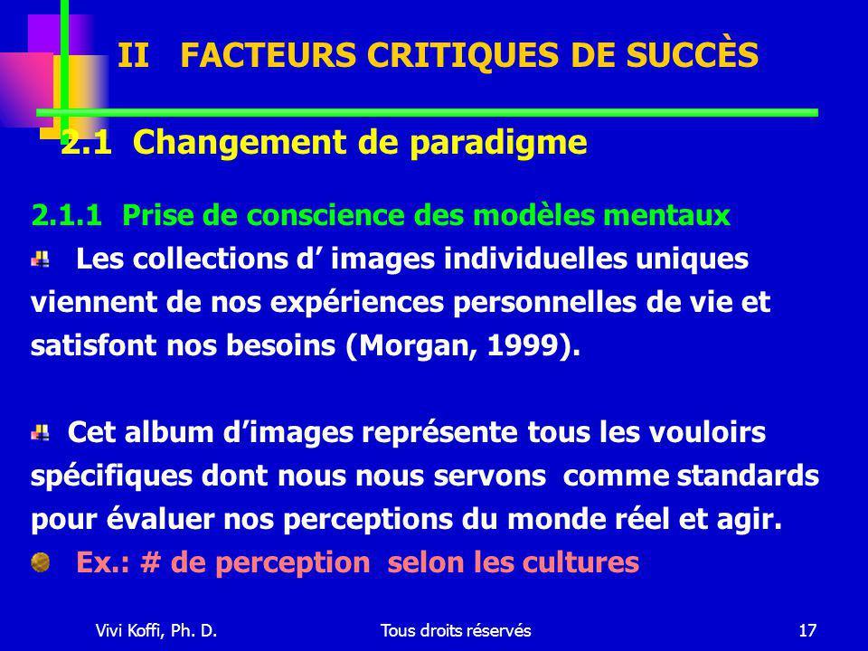 Vivi Koffi, Ph. D.Tous droits réservés17 2.1.1 Prise de conscience des modèles mentaux Les collections d' images individuelles uniques viennent de nos