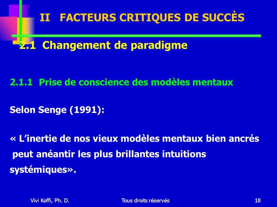 Vivi Koffi, Ph. D.Tous droits réservés18 2.1.1 Prise de conscience des modèles mentaux Selon Senge (1991): « L'inertie de nos vieux modèles mentaux bi
