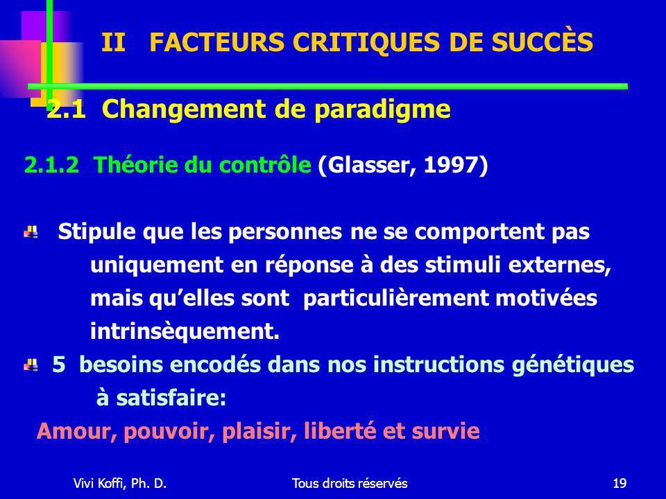 Vivi Koffi, Ph. D.Tous droits réservés19 2.1.2 Théorie du contrôle (Glasser, 1997) Stipule que les personnes ne se comportent pas uniquement en répons