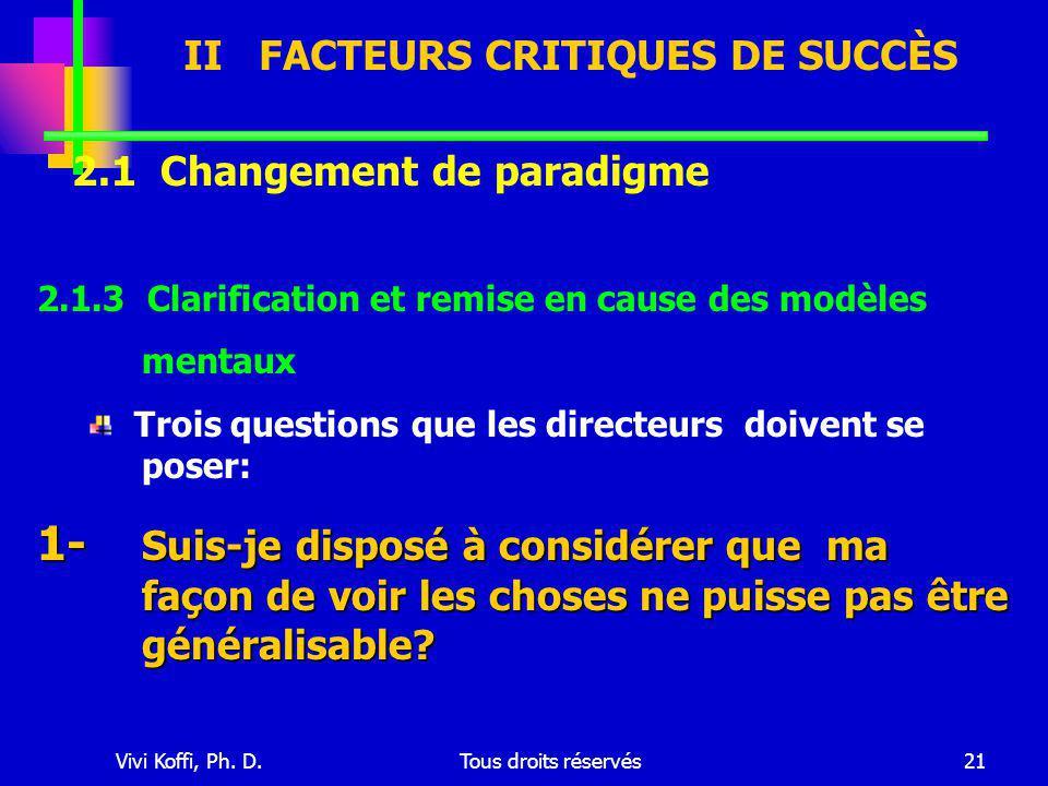 Vivi Koffi, Ph. D.Tous droits réservés21 2.1 Changement de paradigme 2.1.3 Clarification et remise en cause des modèles mentaux Trois questions que le