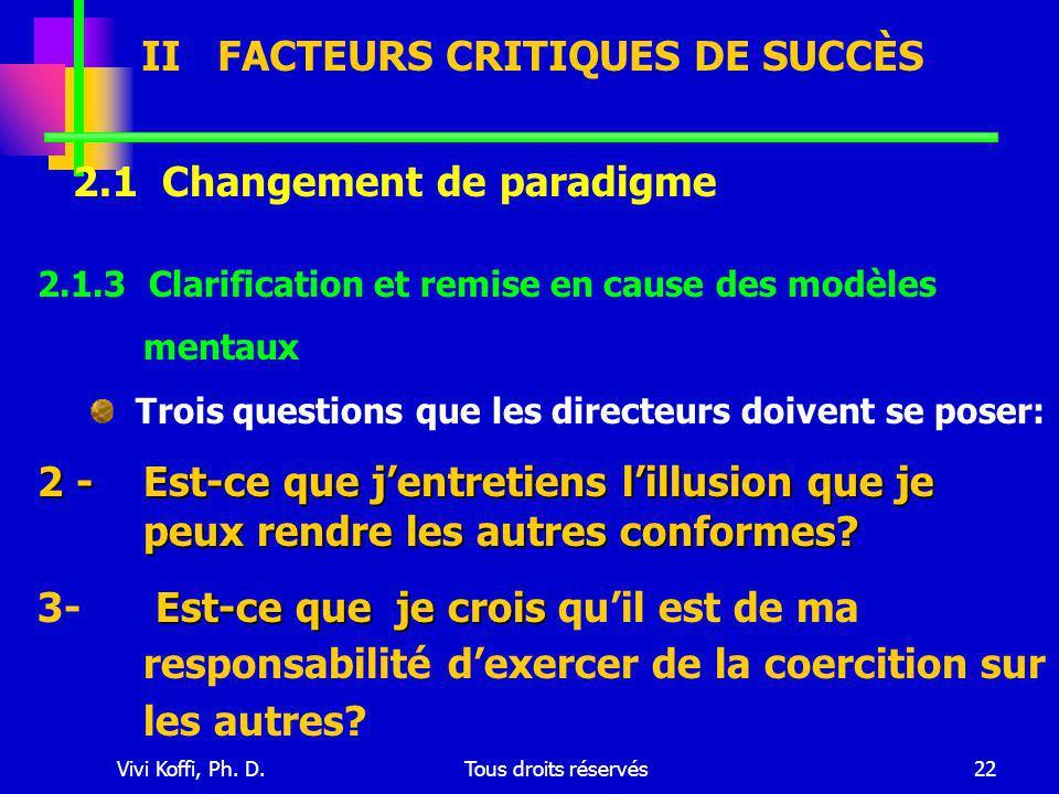 Vivi Koffi, Ph. D.Tous droits réservés22 2.1 Changement de paradigme 2.1.3 Clarification et remise en cause des modèles mentaux Trois questions que le