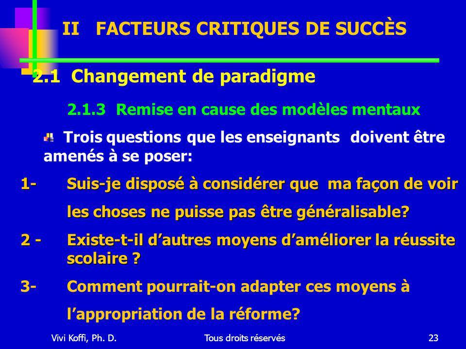 Vivi Koffi, Ph. D.Tous droits réservés23 2.1 Changement de paradigme 2.1.3 Remise en cause des modèles mentaux Trois questions que les enseignants doi