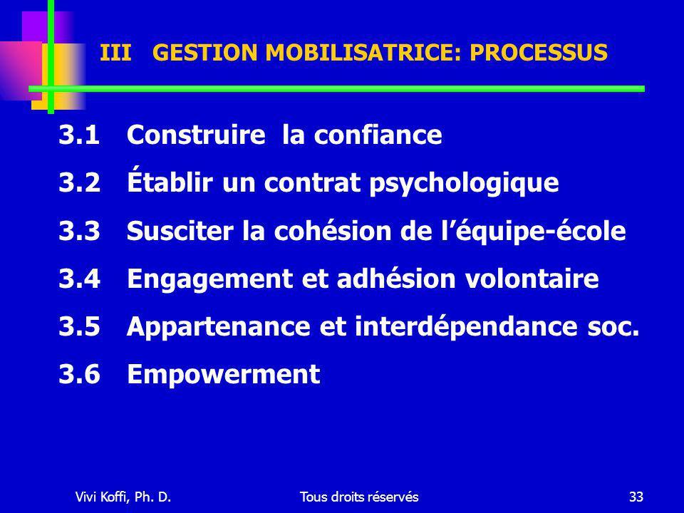 Vivi Koffi, Ph. D.Tous droits réservés33 III GESTION MOBILISATRICE: PROCESSUS 3.1 Construire la confiance 3.2Établir un contrat psychologique 3.3Susci