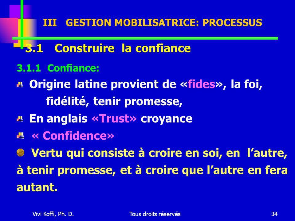 Vivi Koffi, Ph. D.Tous droits réservés34 III GESTION MOBILISATRICE: PROCESSUS 3.1 Construire la confiance 3.1.1 Confiance: Origine latine provient de