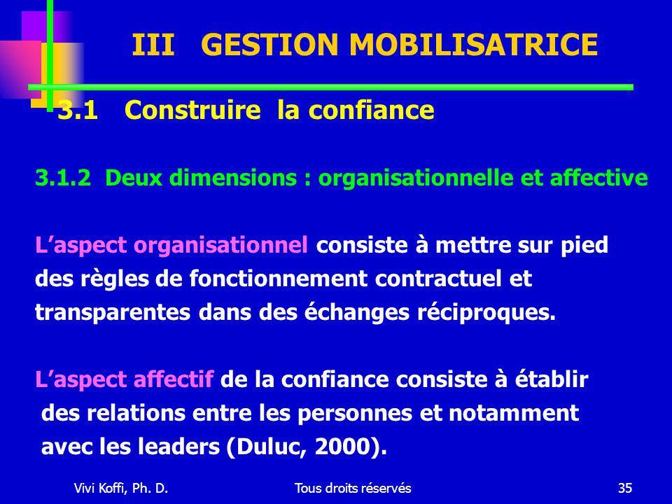 Vivi Koffi, Ph. D.Tous droits réservés35 III GESTION MOBILISATRICE 3.1 Construire la confiance 3.1.2 Deux dimensions : organisationnelle et affective