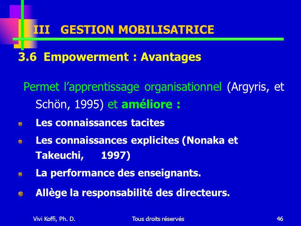 Vivi Koffi, Ph. D.Tous droits réservés46 3.6 Empowerment : Avantages Permet l'apprentissage organisationnel (Argyris, et Schön, 1995) et améliore : Le